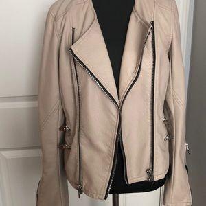 Faux Leather Cream Jacket/ Refined Moto Jacket